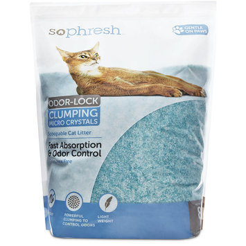 So Phresh Scoopable Odor-Lock Clumping Micro Crystal Cat Litter in Turquoise Silica, 8 LB