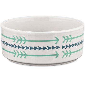 Harmony Ceramic Arrow Dog Bowl, 1 Cup, Small, Blue / White