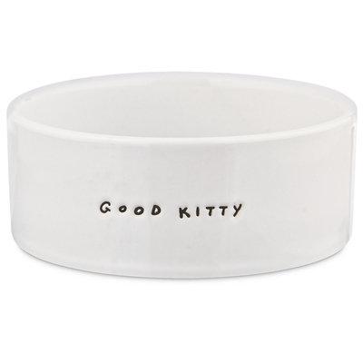 Harmony Good Kitty Ceramic Cat Bowl, 3 Cup, Medium, White / Black