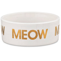 Harmony Meow Ceramic Cat Bowl, 1 Cup, Small, White / Gold