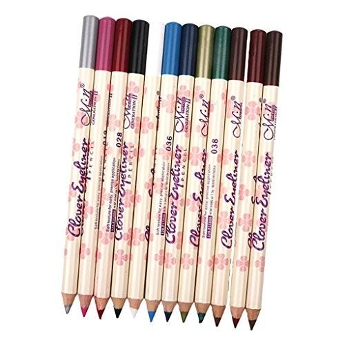 Dovewill 12 Colors Eyeliner Waterproof Lip Liner Eye Shadows Eyebrow Pen Longlasting Cosmetic Pencil Kit