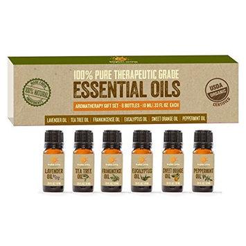 100% Pure Therapeutic Grade Essential Oils |Organic & Natural | Aromatherapy Gift Set | 6 Essences| 10ML / .33 FL OZ Each