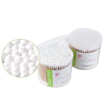 Pack of 300pcs Premium Multi Care Clean Makeup Cotton Swabs with Wooden Handles Beauty Organic Double Tipped Applicators