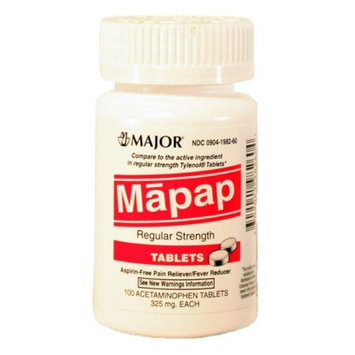 MAJOR MAPAP 325MG TAB UNBOXED ACETAMINOPHEN-325 MG White 100 TABLETS UPC