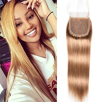 July Queen Peruvian Straight Hair Lace Closure Unprocessed Human Hair Lace Closure (4X4) #27 Blonde Color 10Inch
