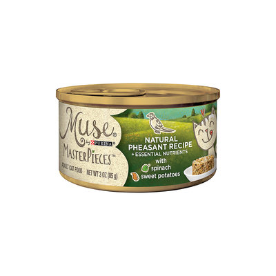 Muse by Purina MasterPieces Natural Pheasant Recipe accented with Sweet Potato & Spinach Cat Food, 3 oz, Case of 24