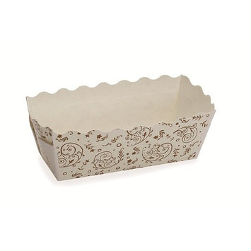 3.2L x 1.2W x 1.4H Mini Rectangular Loaf Baking Pan Brown Blossom,Case of 500