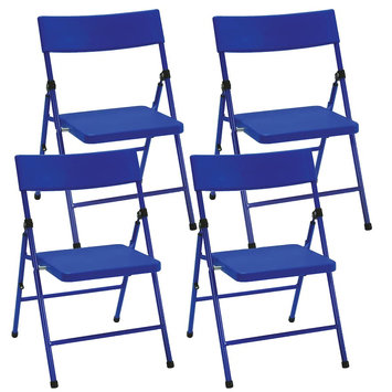Cosco Products Kid's 4-Pack Pinch-Free Folding Chair, Blue