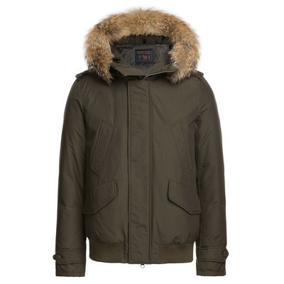 Woolrich Polar Down Bomber Jacket with Fur-Trimmed Hood - green