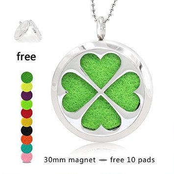 Silver Essential Oil Diffuser Necklace- YouMiYa Clover Shape Aromatherapy Essential Oil Diffuser Locket Magnetic Perfume 316L Stainless Steel Pendant Best Fashionable Gifts Choose Good For Relax