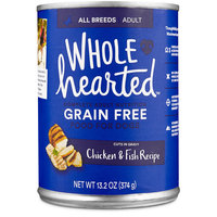 WholeHearted Adult Dog Food - Grain Free Chicken & Fish Canned Cuts in Gravy, 13.2 oz, Case of 12