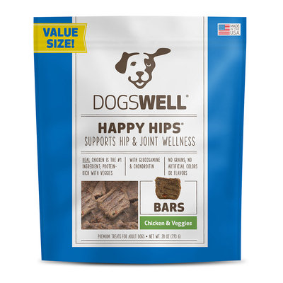 Dogswell Happy Hips Bars Chicken & Veggie Dog Treats