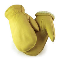 Northstar Unisex Full Grain Deerskin Sherpa Lined Mitten, Tan, Full Fingered 51T