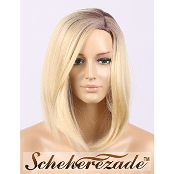 Scheherezade Bob Synthetic Wig Ombre Blonde Glueless Full Machine Made Wigs Natural Short Looking Left Side Part Dark Roots Heat Resistant