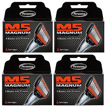 Personna M5 Magnum 5 Refill Razor Blade Cartridges, 4 ct. (Pack of 4) + FREE Scunci Effortless Beauty Black Clips, 15 Count