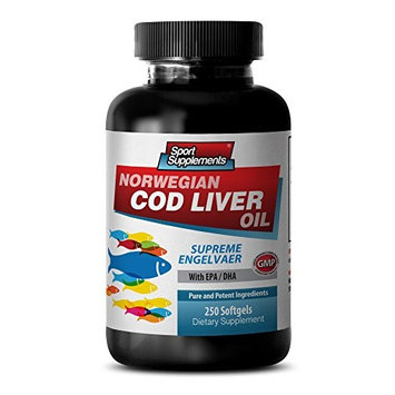 Digestive aid supplements - NORWEGIAN COD LIVER OIL with Vitamins A & D3/EPA & DHA - Norwegian cod liver oil softgels - 1 Bottle 250 Softgels