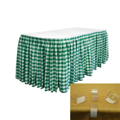 LA Linen SKTcheck21x29-15Lclips-HunterGreenK20 Polyester Gingham Checkered Table Skirt with 15 L-Clips White & Hunter Green - 21 ft. x 29 in.