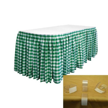 LA Linen SKTcheck17x29-10Lclips-HunterGreenK20 Polyester Gingham Checkered Table Skirt with 10 L-Clips White & Hunter Green - 17 ft. x 29 in.