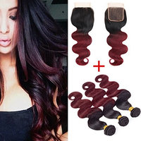 1B 99J Unprocessed Virgin Brazilian Hair Bundles with Closure 8A Two Tone Brazilian Body Wave Human Hair with Closure Tangle Free Soft No Shedding (18 & 20 & 22 with 16)……