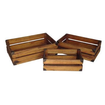 Cheungs 3 Piece Wooden Slat Crate Set