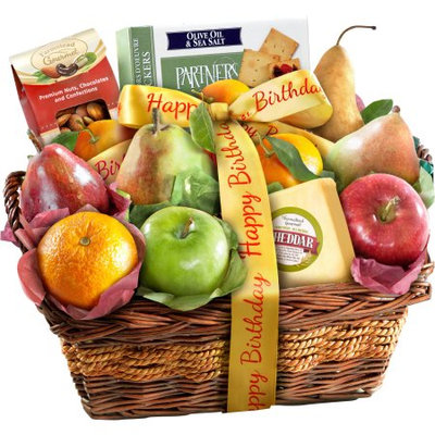 Golden State Fruit Happy Birthday Fruit with Cheese and Nuts Gift Basket, 13 pc