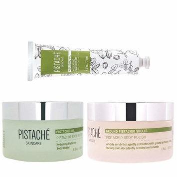 Pistaché Skincare - 3-Piece Hydrating Body Butter, Hand Cream & Exfoliating Body Polish Set