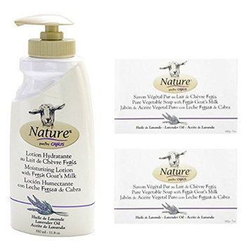 Caprina by Canus Nature Lavender Oil Moisturizing Lotion and Nature Pure Vegetal Oil Base Soap Lavender Oil (Pack of 2) Bundle with Goat Milk, Soybean Oil, and Lavender Oil, 11.8 oz. and 5 oz.