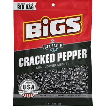BIGS Sea Salt & Cracked Pepper Sunflower Seeds, 5.35-ounce Bags (Pack of 3)