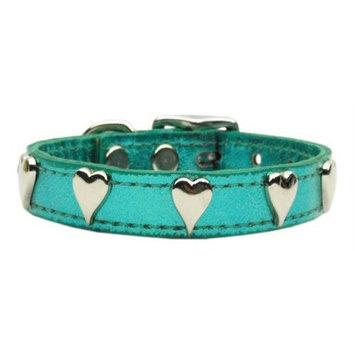 Mirage Pet Products 8314 14TqM Metallic Heart Leather Turquoise Metallic 14