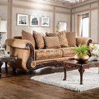 Benzara Nicanor Grotesque Luxurious Sofa, Gold & Brown