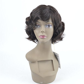 Dingli Hair Brazilian Short Bob Wavy Machine Made Wigs with Baby Hair Unprocessed Remy Human Hair Natural Color