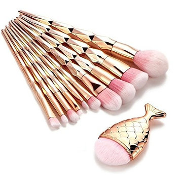 11 pcs Trendy Mermaid Unicorn Horn Makeup Brush Set Big Fish Tail Foundation Powder Face Eyeshadow Make-up Brushes Women Beauty Cosmetic Tools [11]