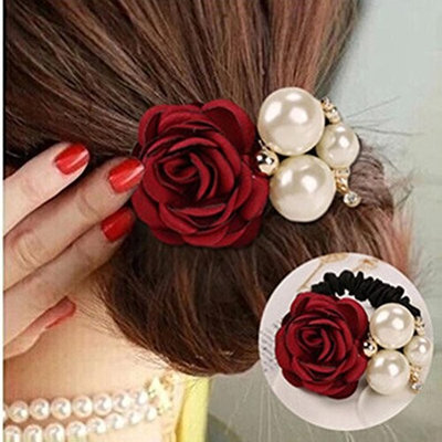 Cuhair(tm) 2pc New fashion Women Girl full pearl rose elastic Ponytail Holders Hair Tie Assorted Rope Rubber Bands Accessories