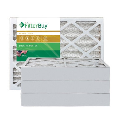 AFB Gold MERV 11 14x25x4 Pleated AC Furnace Air Filter. Filters. 100% produced in the USA. (Pack of 4)