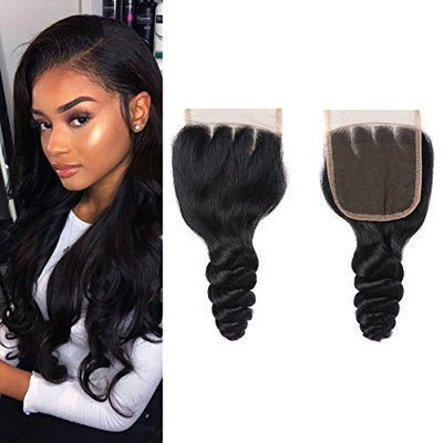 8A Grade Brazilian Virgin Human Hair Loose Wave Lace Closure 18 Inch 100% Human Hair Loose Lace Closure Three Part Natural Black