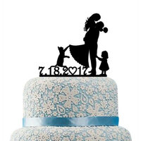 Buythrow Family Cake Topper, Bride and Groom Cake Topper Little Girl, Kids Silhouettes, Name and Date Topper, Cat, Acrilic Cake Topper, Mr And Mrs