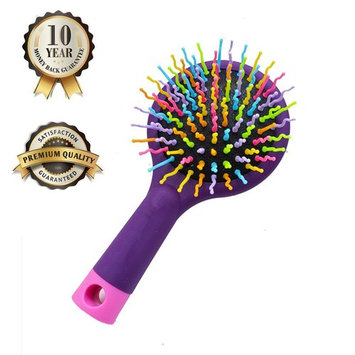Hilinker Hair Brush - Detangle Hair Easily With No Pain - Good For Wet Or Dry Hair - Adults & Kids Rainbow