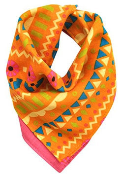 Kishu Baby Pink & Orange Boho Sun Reversible Bandanna Bib - Infant