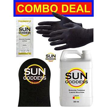 Sun Goddess - LIGHT - 32 oz - Spray Tan Solution - BEST COMBO DEAL: Sunless Self Spray Tan liquid Solution + Best Sunless Self Spray Tanning Mitt & Gloves & Best Sunless Self Tanning Lotion Tanner