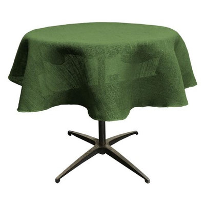 LA Linen TCBurlap58R-GreenHunter Dyed Natural Burlap Tablecloth Hunter Green - 58 in. Round