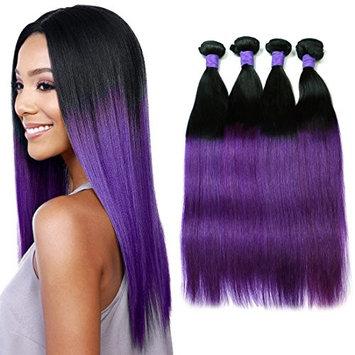 MAOYUAN 8A Ombre Purple Straight Brazilian Virgin Hair with Closure 3 Bundles Human Hair Weave Tissage Bresilienne Avec Closure