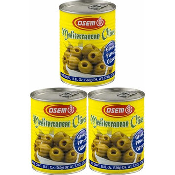 Osem Mediterranean Olives, Green Pitted, 18 Ounce