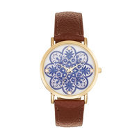 Women's Crystal Floral Watch, Size: Large, BROWN