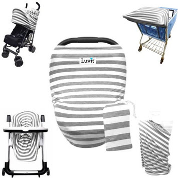 Luvit 5-in-1 Cover for Car Seats, Shopping Carts, High Chairs, Strollers and Nursing Moms in Gray & White Stripes