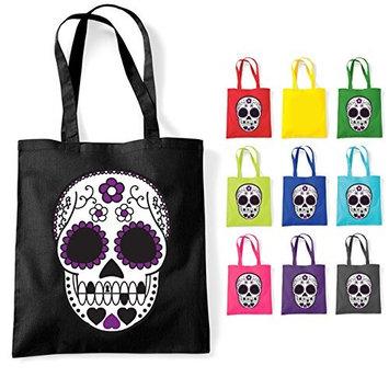 Mexican Sugar Muerte Skull Tattoo Cotton Tote Shoulder Bag Black [Black]
