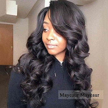 Maycaur Black Long Body Wave Synthetic Wigs For Women Heat Resistant Fiber Hair Wavy Wigs with Side Bangs