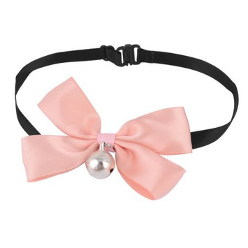 Pet Dog Puppy Bell Ornament Adjustable Strap Bowknot Collar Pale Pink