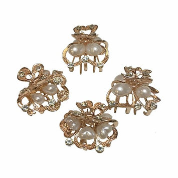 Numblartd Set of 4 Vintage Champagne Gold Pearl Rhinestone Alloy Small Size Butterfly Hair Claw Jaw Clips Pins - Women Fashion Chic Hair Updo Grip Hair Catch Clamp Hair Accessories