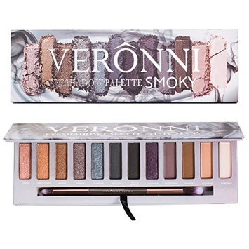 12 Colors Highly Pigmented Pressed Shimmer & Matte Eyeshadow Palette - Natural Smokey Colorful Nudes Pink Brown Purple Bright Sparkle Glitter Neutral Eye Shadow Makeup With Mirror & Blending Brush Kit