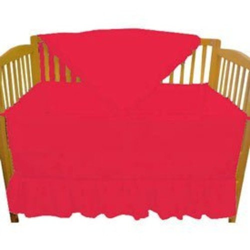aBaby Solid Color Mini Crib Bedding, Red